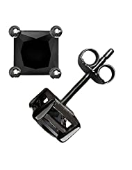 Authentic Black Enamel Stud Earrings Sterling Silver .925 Genuine Black Diamond Color Cubic Zirconia Princes Cut 2 Carat Total Weight Special Limited Time Offer Super Sale Price, Comes with a Free Gift Pouch and Gift Box