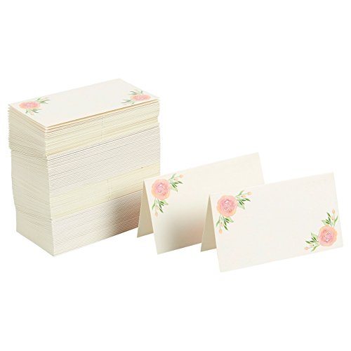 Floral Table Place Cards - 100 Piece Rose Tent Cards, Table Decorations and Party Supplies for Romantic Wedding, Banquets, Bridal Shower, Celebrations and Events, 2 x 3.5 Inches, Green and Pink -