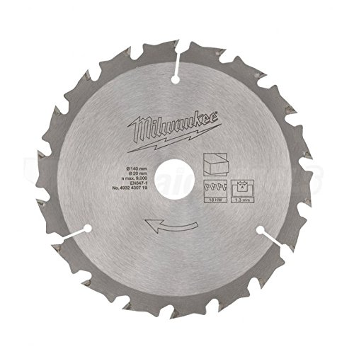 Milwaukee 4932430719 Circular Saw Blade 140mm 18T 20mm Bore Wood Fits M12 Fuel