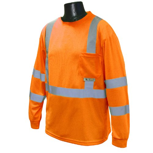 Radians ST21-3POS-L Class 3 Max-Dri Moisture Wicking Mesh Long Sleeve Safety T-Shirt, Large, Orange