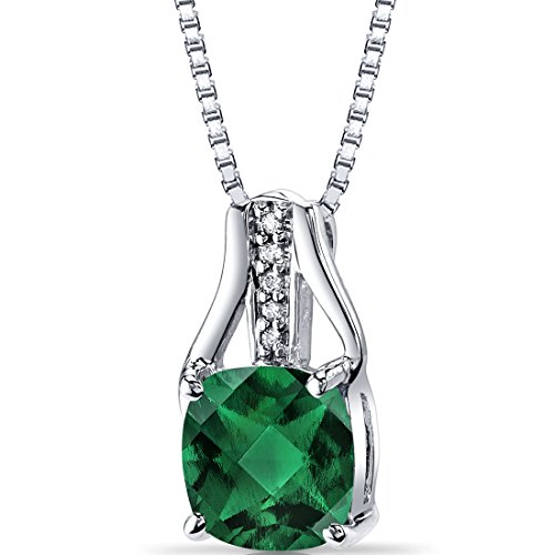 14K White Gold Created Emerald Diamond Pendant Cushion Checkerboard Cut 1.75 Carats Total ()
