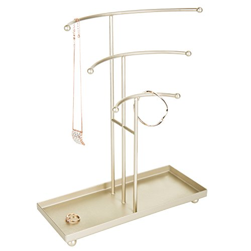 MyGift Gold-Tone Metal Tabletop 3-Tier T-Bar Necklace Stand with Ring Tray