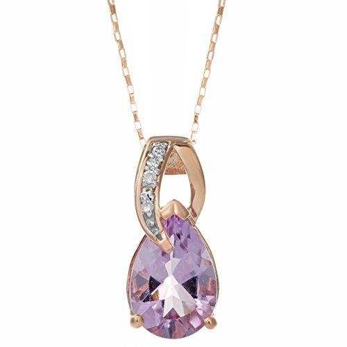 Lavari - 10K Rose Gold Pink Amethyst .02 cttw Diamond Pear Birthstone Pendant