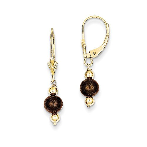 - 14k Yellow Gold 1.0IN Long Chocolate Freshwater Cultured Pearl & Bead Leverback Earrings