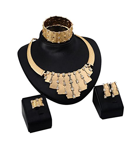 elry Set Golden Chain Necklace Bracelet Ring Geometric Earrings Set For Women ()