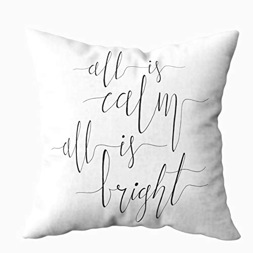 (TOMWISH Throw Pillow Covers, Hidden Zippered 16X16Inch All Calm Bright Christmas Carol Inspirational Quote Elegant Ink Isolated Decorative Throw Cotton Pillow Case Cushion Cover for Home)