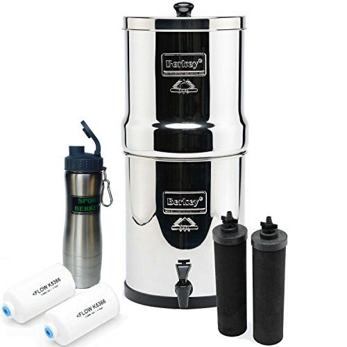 Premium Travel Berkey Water Filter Bundled with 2 Black Berkey Filters and 2 PF2 Fluoride Filters and Berkey Stainless Waterbottle by Berkey