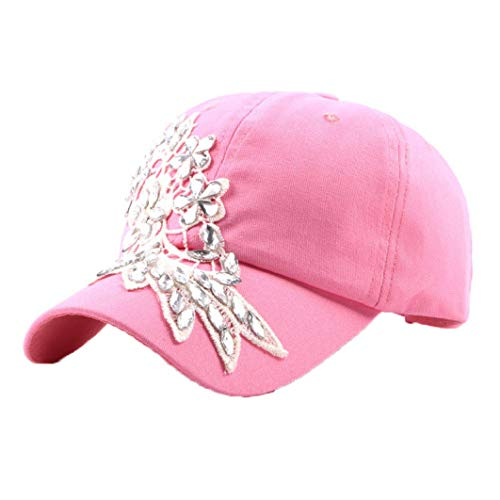 Glittered Rhinestone Lace Flower Baseball Caps Adjustable Fashion Bling-Full Shiny Gorgeous Shining Snapback Hats Sun Cap Pink
