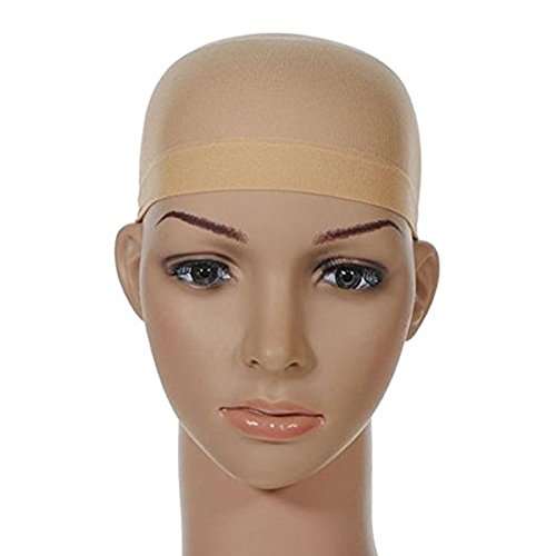 MeiRun Unisex Stocking Wig Cap Snood Mesh Natural Nude Beige Wig Caps (2pcs) by MeiRun