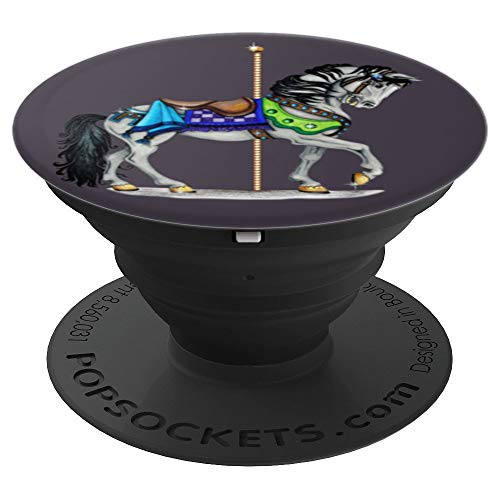 White Carousel Horse PopSockets Grip and Stand for Phones and Tablets ()