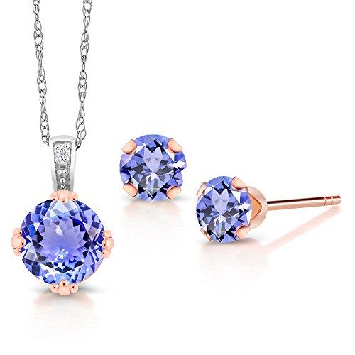 1.50 Ct Blue Tanzanite and Diamond 10K Two Tone Gold Pendant Earrings Set ()
