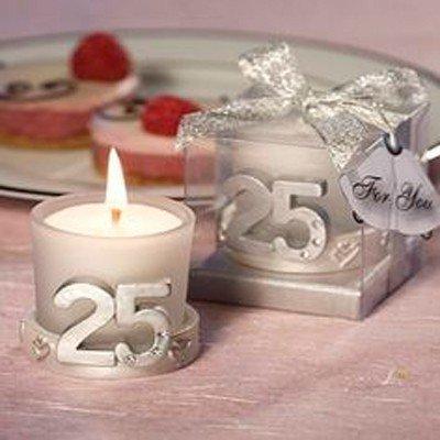 Lote de 20 Velas 25º Aniversario - Detalles y recuerdos aniversario bodas de plata: Amazon.es: Hogar