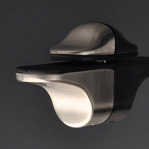 Weirun Solid Metal Adjustable Wood/Glass Floating Shelf Bracket Holder Support Hardware Wall Mount 2 Pcs or One Pair , Brushed Nickel - Nickel Corner Bracket