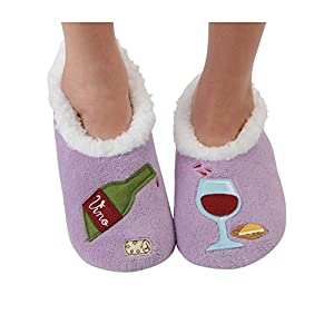 Snoozies Womens Classic Splitz Applique Slipper Socks