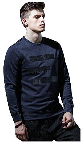 wanture Men's Classical Pure Color 3D Monogram Vogue Jumper Lightweight Fashion Pullover Sweatshirt Navy Tag XXL(Chest 42.9