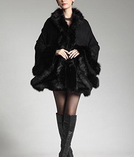 Con Negro Manto De Para Zorro Plaer Piel Mujer Hecho Capucha Imitación xvZxB8wq