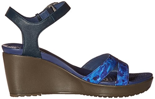 Crocs Women's Leigh II Ankle Strap Wedge Nautical Navy/Walnut dPHO9bSam3