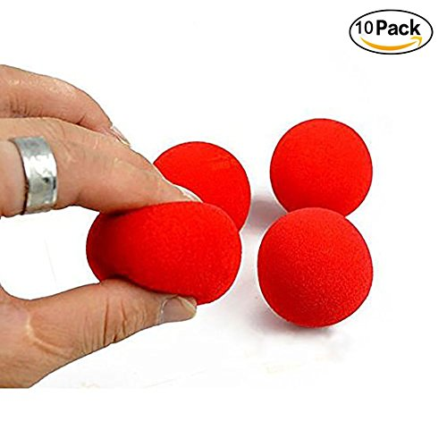 Youbeautify 10 Pcs Magic Soft Red Sponge Ball Close-Up Classical Comedy Small Magical Ball Trick Props (1.77 inch)
