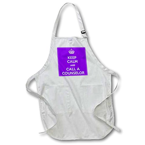 - 3dRose apr_216313_4 Keep Calm & Call A Counselor Purple Full Length Apron, 22 by 30