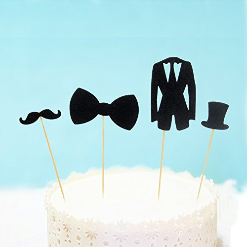 Astra Gourmet Set of 20 Black Mustache Bow Tie Suit & Hat Cake Cupcake Toppers Picks for Decorations