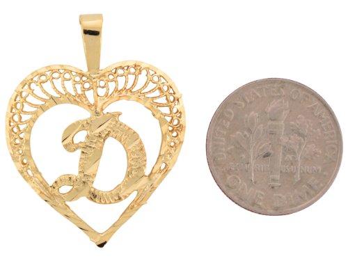 9ct Or Superbe Pendentif Coeur Avec Initial Lettre D En Filigrane 2.92cm