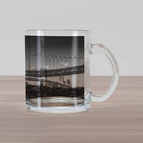 Lunarable City Glass Mug, Sun Setting View of San Francisco Bay Bridge California USA Tourist Attraction Image, Printed Clear Glass Coffee Mug Cup for Beverages Water Tea Drinks, Black Grey
