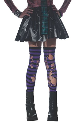 Rubie's Costume Child's Ripped Striped Thigh-Highs Costume, Purple/Black