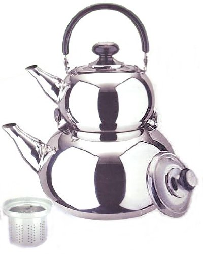 18/10 STAINLESS STEEL TURKISH SAMOVAR STYLE DOUBLE TEA KETTLE & POT by overstockedkitchen