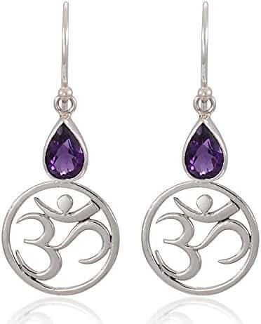 925 Sterling Silver Yoga, Om, Ohm Symbolic w/ Purple Amethyst Stone Earrings-Nickel Free