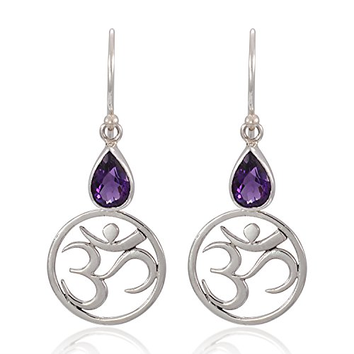 (925 Sterling Silver Yoga, Om, Ohm Symbolic w/Purple Amethyst Stone Earrings-Nickel Free)