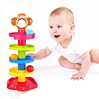 5 Layer Ball Drop and Roll Swirling Tower Shape Sorter for Baby and Toddler Educational Toys | Stack, Drop and Go Ball Ramp Toy Set Gift Choice Activity Centre for 1-3 Years Boys Girls(Monkey Toy)
