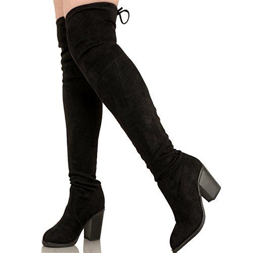 Guilty Schuhe Damen Komfortable Stretchy Chunky Blockabsatz Fitted Zurück Tie - Oberschenkel Hohe Overknee Winterstiefel Schwarzes Wildleder