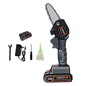 Rocomoco Mini Cordless Chainsaw, 4 Inch Portable Handheld Electric Chainsaw, Rechargeable Lithium Battery Operated…