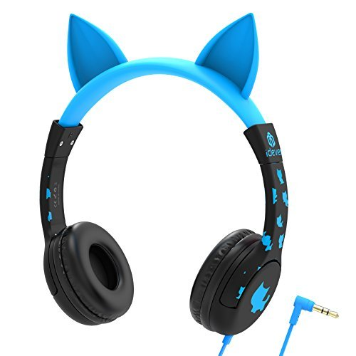 iClever Kids Headphones, Cat-inspired Wired On-Ear Headsets with 85dB Volume Limited, Food Grade Silicone Material (Kids-friendly), 3.5mm Audio Jack Cable, Children Headphones for Kids, Blue