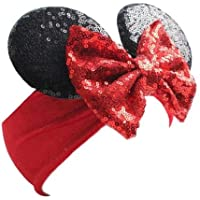 Baby & Toddler Minnie Mouse Ears Wide Headband with Bow - Sequins & Velvet Headwrap - First Birthday Costume