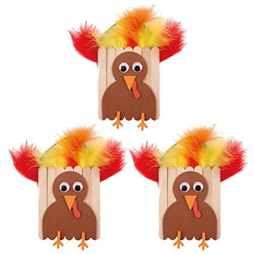 BESTOYARD 5pcs DIY Thanksgiving Turkey Craft Kit for Kids Thanksgiving Decorations for $<!--$11.99-->