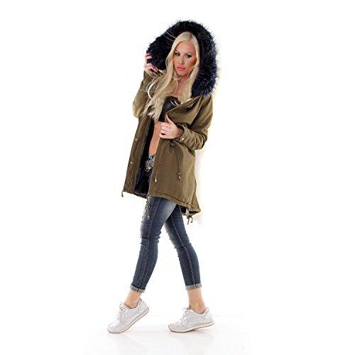 ... Damen Parka Mantel Jacke mit Fellkapuze innen mit Fell warm gefüttert  Military khaki khaki-blau ... 706020c1ea