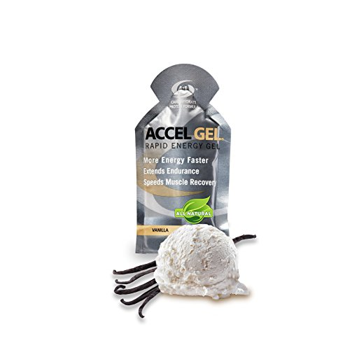 PacificHealth Accel Gel, All Natural Protein-Powered Rapid Energy Gel for Instant Energy During Intense Workouts - Box of 24, 1.3 Ounce Packets (Vanilla) (Gel 22nf)
