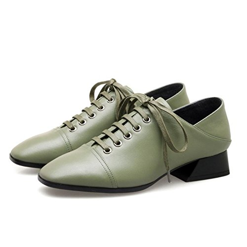 Estate Black Mid Décolleté Heel Primavera Green Womens Green Ladies Lace Scarpe Up Comode lavoro Décolleté da Leather Shoes GAOLIXIA Stagioni TqS4AxwXA