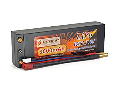 7.4V 8000mAh 2S Cell 100C-200C HardCase LiPo Battery Pack w/ 4mm Bullet & Deans Ultra Connector