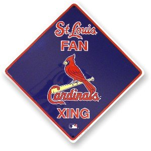 St. Louis Cardinals Fan Metal Crossing Sign 12 inch by 12 inch Team colors and logo
