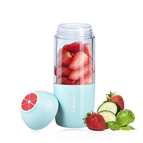 Portable Smoothie Blender, Carry360 USB Rechargeable Juicer Cup Travel Blender Small Personal Shake Blender Ice Blender Fruit Mixing Machine for Home/Office/Outside (Blue) - Small Bullet Cover