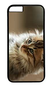 MOKSHOP Adorable cute fluffy cat Hard Case Protective Shell Cell Phone Cover For Apple Iphone 6 (4.7 Inch) - PC Black