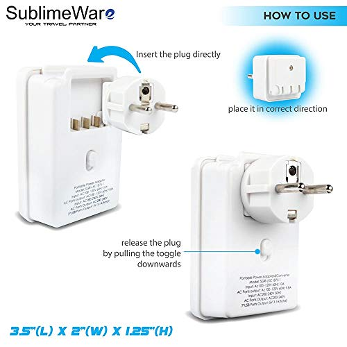 2000 W Travel Adapter Kit w/ 2 USB Ports & US Outlets - International Travel Adapter Plug Europe US UK China Ireland - Smart 2.4 A USB Electrical Charger Dual Voltage Device Sublimeware by SublimeWare (Image #2)