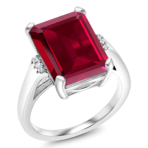 8.07 Ct Emerald Cut Red Created Ruby 925 Sterling Silver Ring (Ring Cut Ruby)