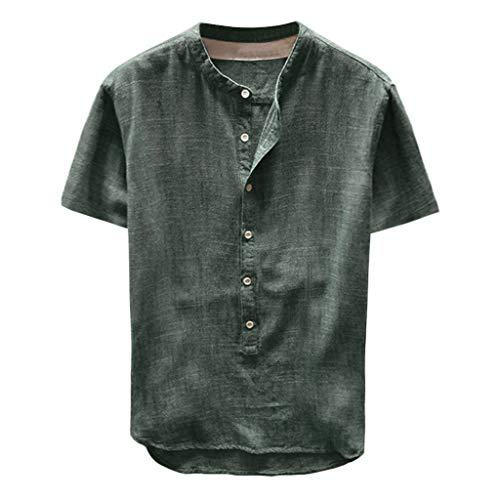 Toimothcn Mens Button Down Shirt Casual Linen Cotton Long Sleeve/Short Sleeve Retro Top Blouse(Green1,M)