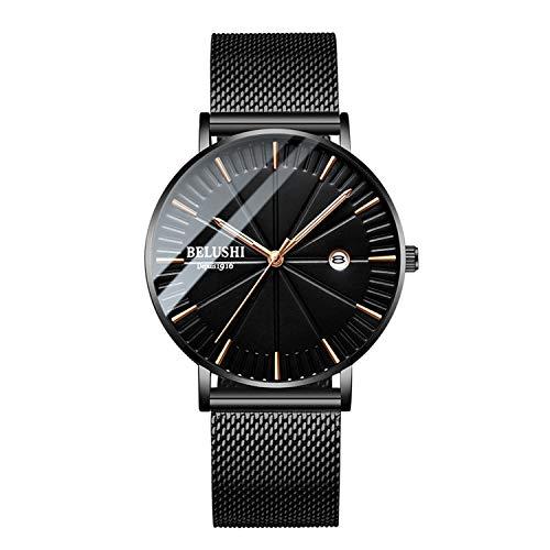 Men's Watch with Luminous Hand Fashion Ultra-Thin Minimalist Wrist Watch Analog Quartz Milanese Mesh Band Business Dress Casual Watches - Black Gold