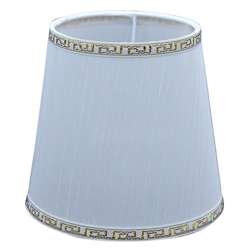 Cleeacc Handmade Modern E14 Screw Lampshade Buu American Pastoral Style Luxury Crystal Candle Glass E14 Adapter Lamp Shade Cloth Design 5 (4 White Clips Frame 1 Wire)