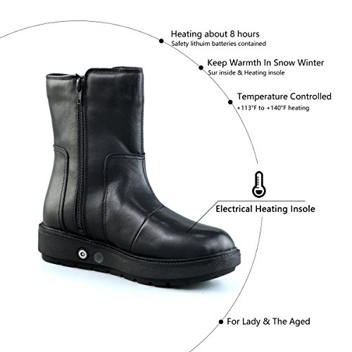 HMSPACES Women's Waterproof Zip-Up Leather Snow Heating Boots With Fur Inside, Batteries Electronic Heating, Self-Drying, Temprature Controlled Up To 140°F For Warmth On Snow Winter (5, Black)