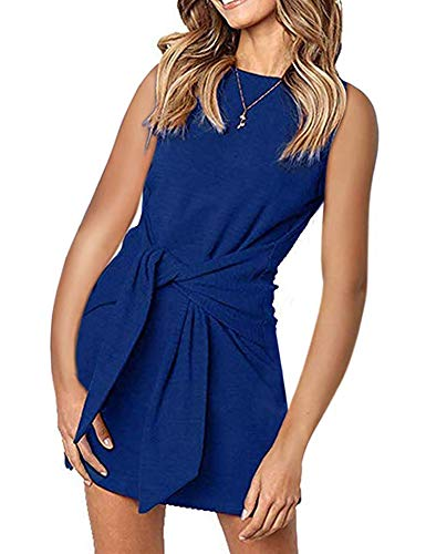 Dresses for Women Belted Tie Front Pencil Tunic Dress Casual Round Neck Solid Color Blue